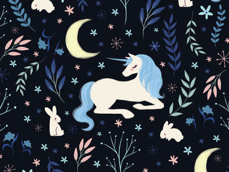 This Unicorn Moon pattern by Lauren Metzler works great for nursery items... baby sheets, quilts, blankets and clothes!