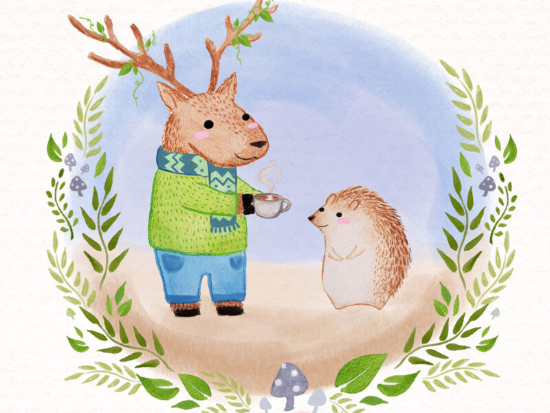 A nice cuppa for a friend. Oregon Elk and Hedgehog. Watercolour on paper. Children's Book illustration by Lauren Metzler see more at laurenmetzler.com