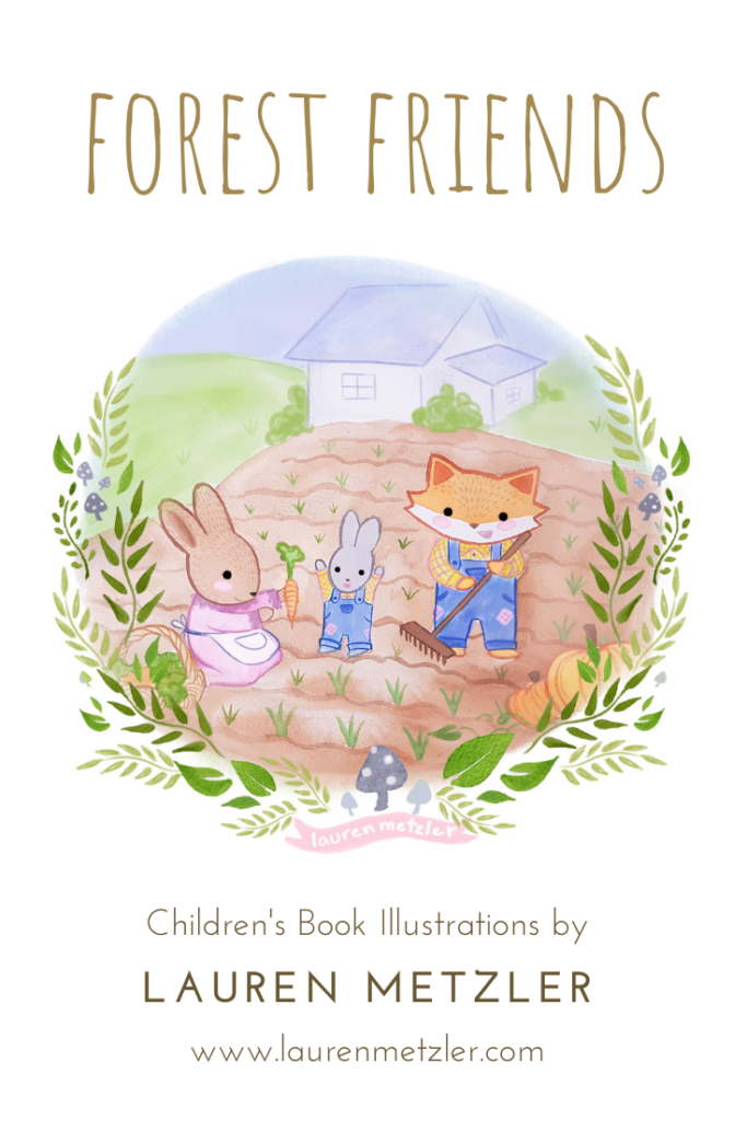 Oregon Fox and Bunny veggie patch Forest Friends by Lauren Metzler. See more work at https://laurenmetzler.com/