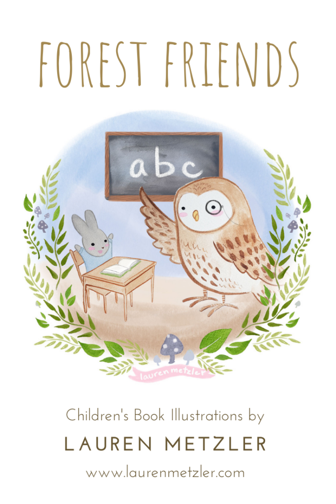 S is for School. Teacher Owl and baby bunny baking carrot cake. Forest Friends by Lauren Metzler. See more work at https://laurenmetzler.com/