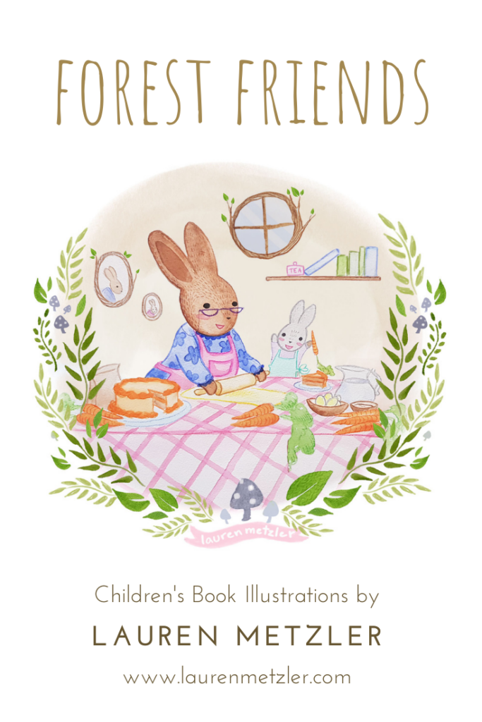 Grandma bunny and baby bunny baking carrot cake. Forest Friends by Lauren Metzler. See more work at https://laurenmetzler.com/