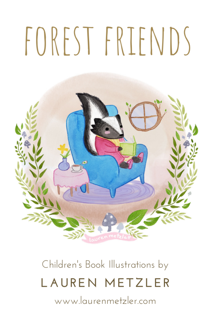 Oregon skunk reading a book. Forest Friends by Lauren Metzler. See more work at https://laurenmetzler.com/
