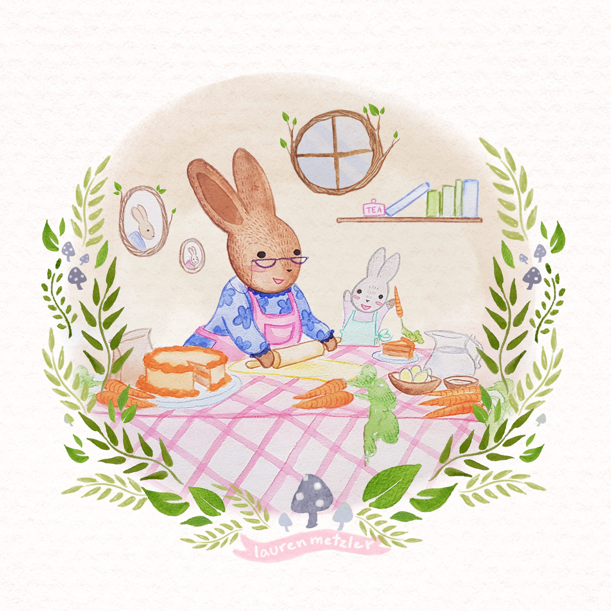 C is for Carrot Cake. Baby Bunny and Grandma Bunny. Watercolour on paper. Children's Book illustration by Lauren Metzler see more at laurenmetzler.com