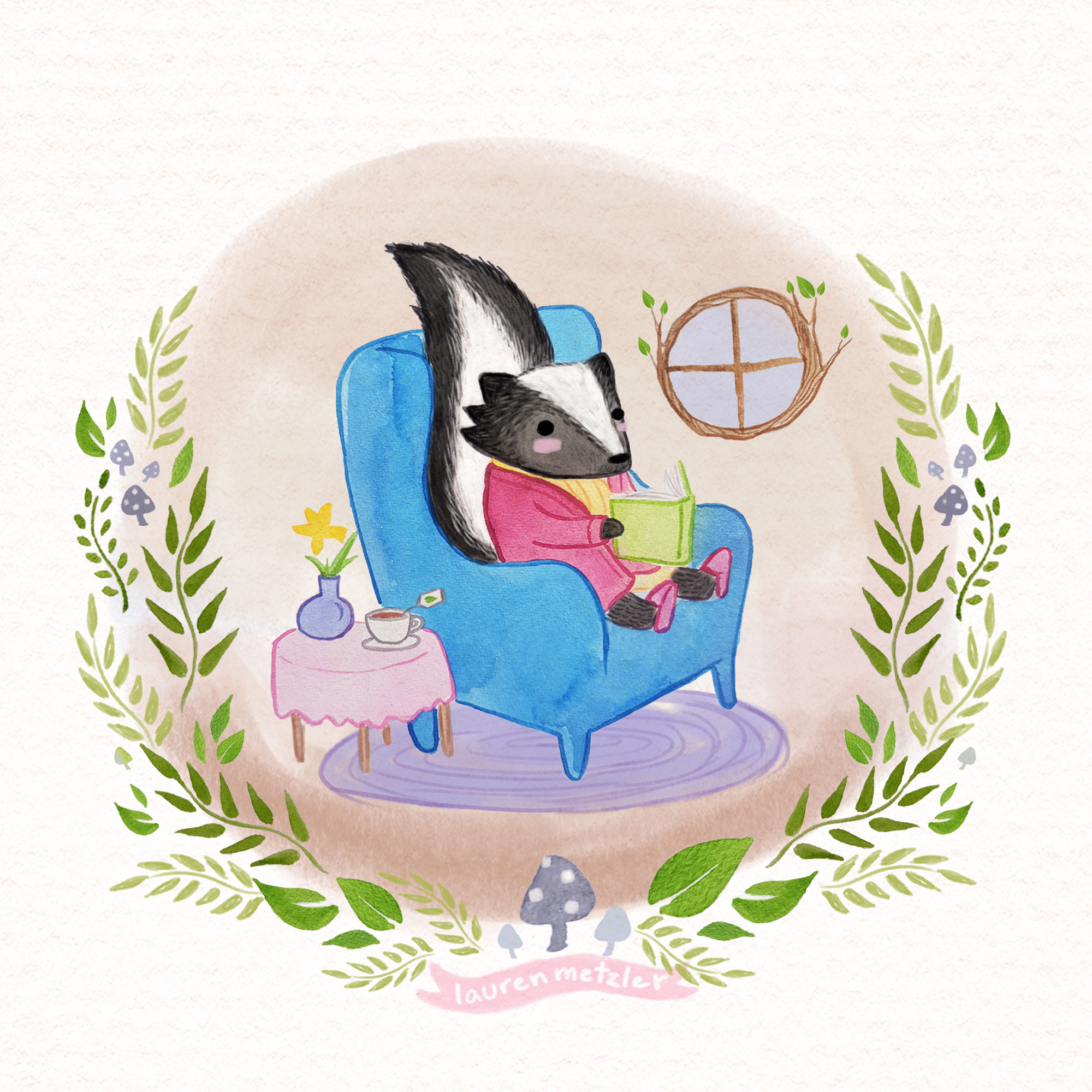 Oregon skunk reading book. print by Lauren Metzler. See more of my prints at laurenmetzler.com