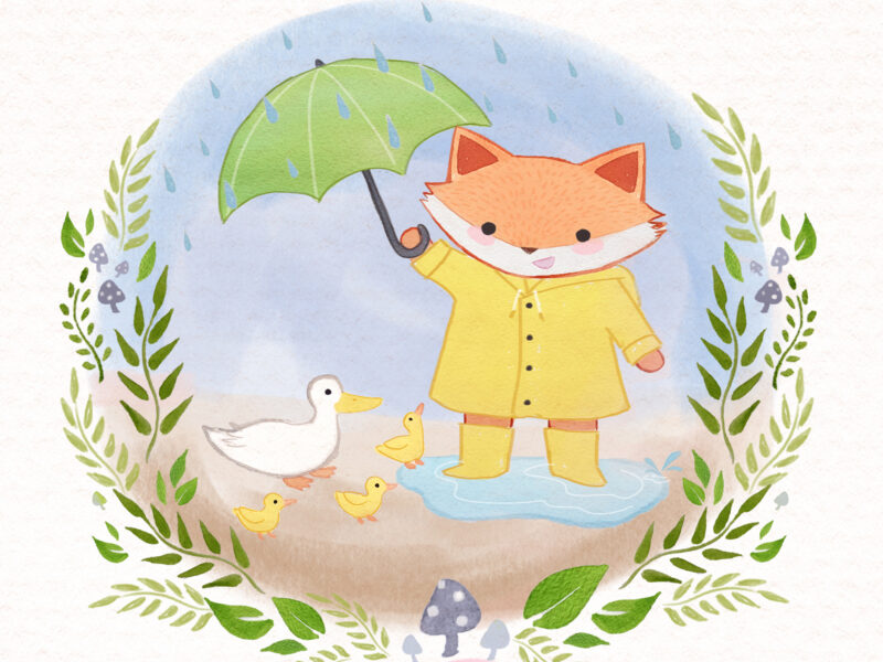 U is for Umbrella Forest Friends ABC book by Lauren Metzler. See more at laurenmetzler.com