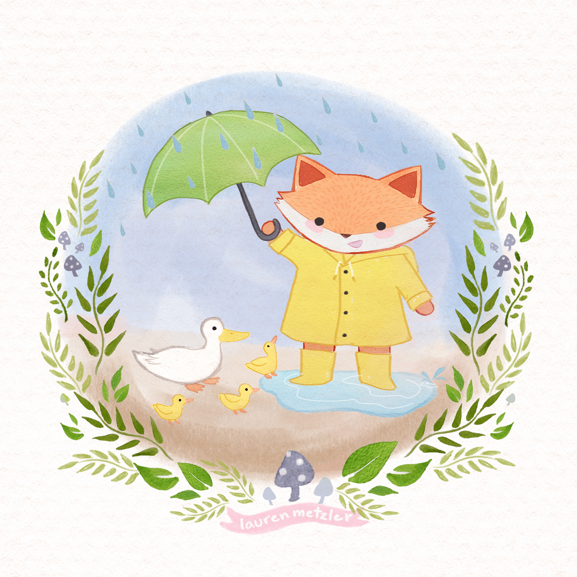 U is for Umbrella Forest Friends ABC book by Lauren Metzler. See more at laurenmetzler.com