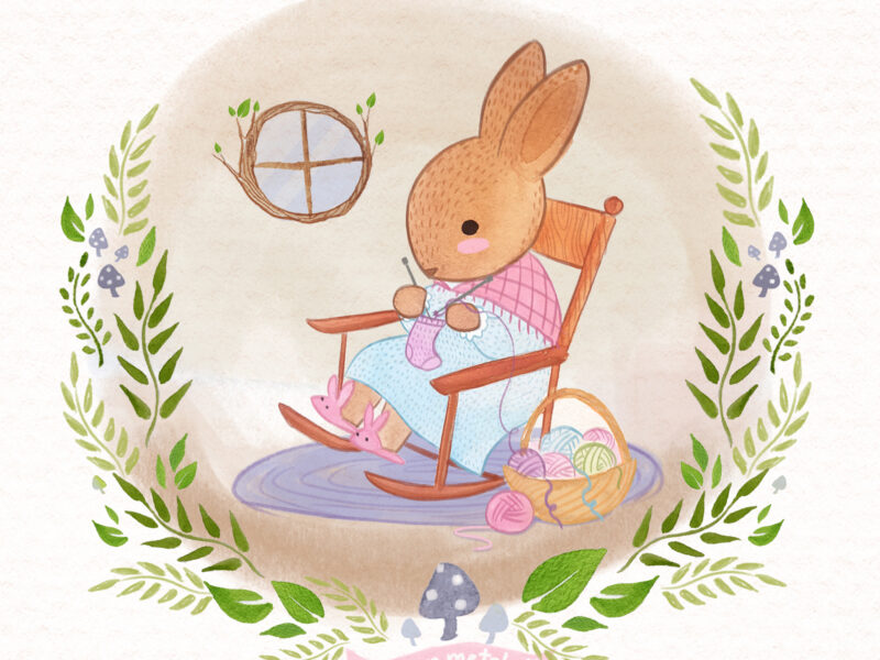 Bunny Knitting a Forest Friends ABC book by Lauren Metzler. See more at laurenmetzler.com