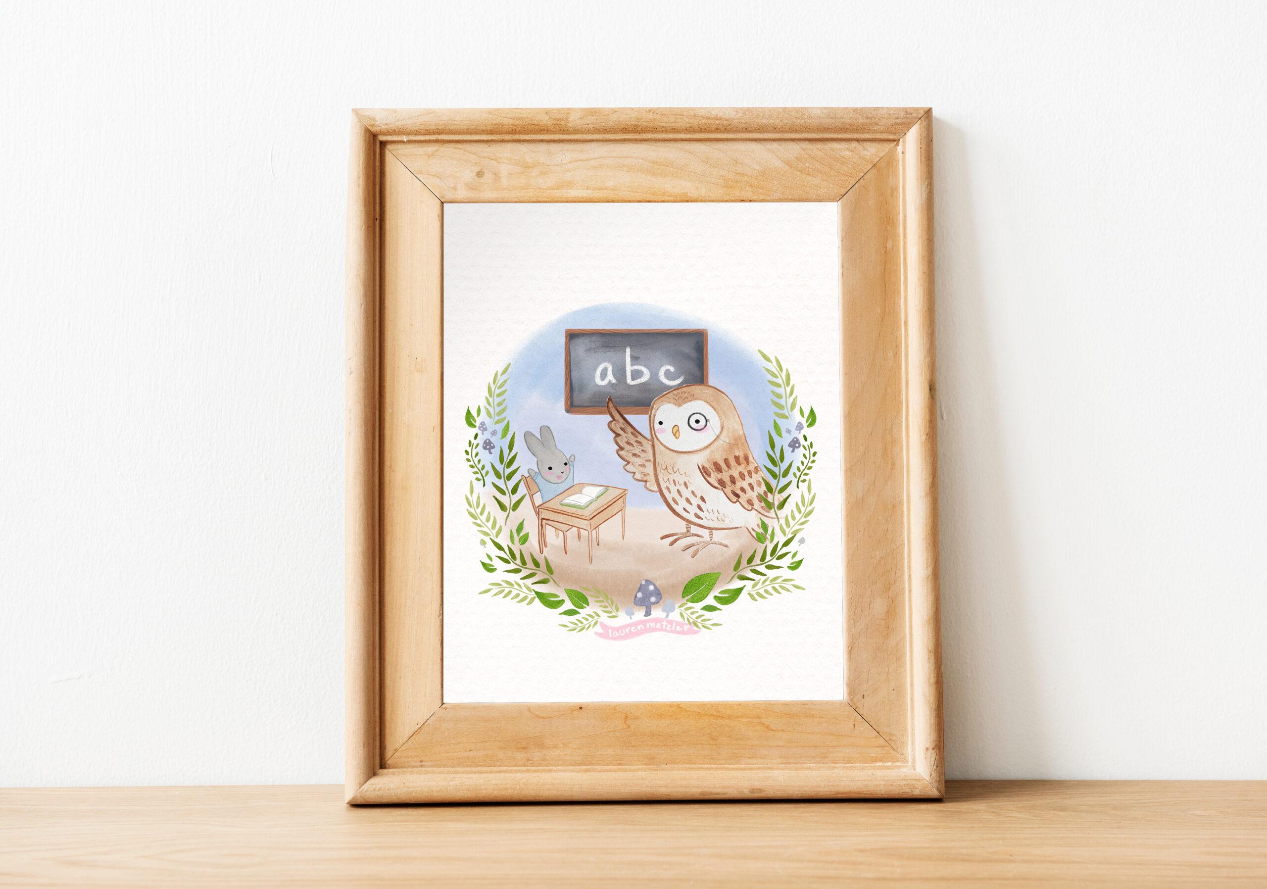 Baby Bunny and Teacher Owl print by Lauren Metzler. See more of my prints at laurenmetzler.com