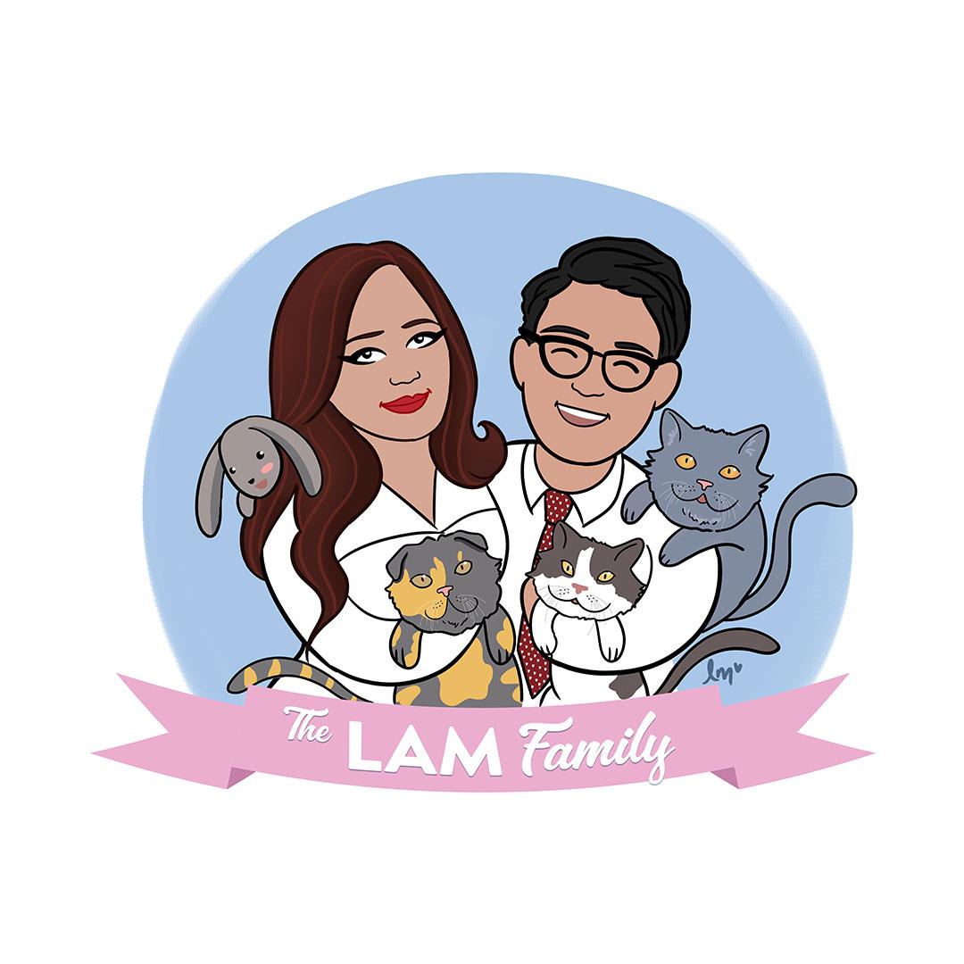 custom family portrait illustration by Lauren Metzler. For more go to laurenmetzler.com
