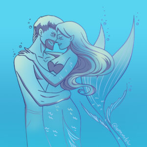 Mermaid Couple Portrait Illustration by Lauren Metzler