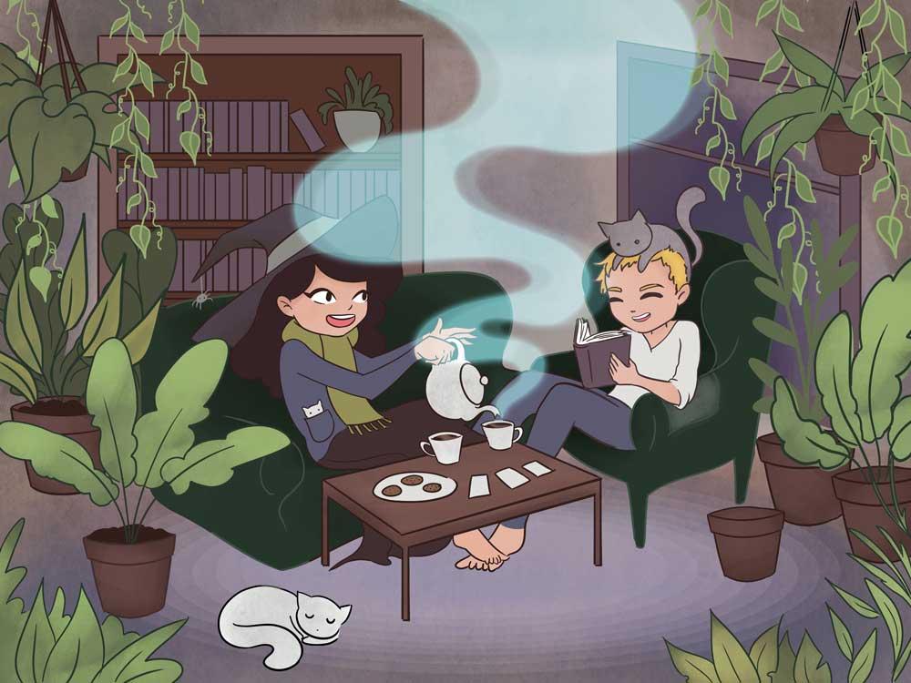 Witch Couple Portrait illustration by Lauren Metzler
