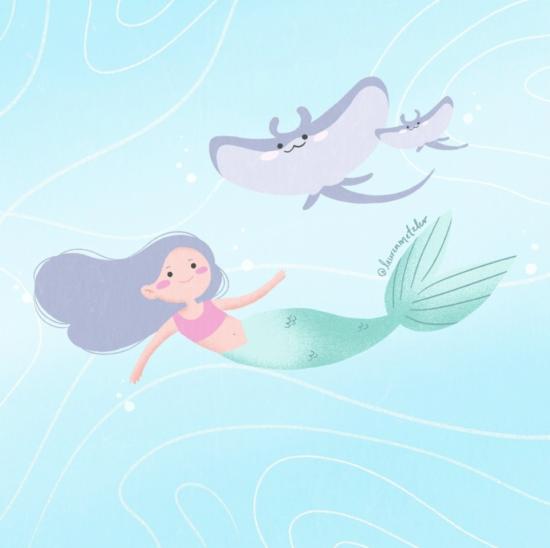 Mermaid children's book art