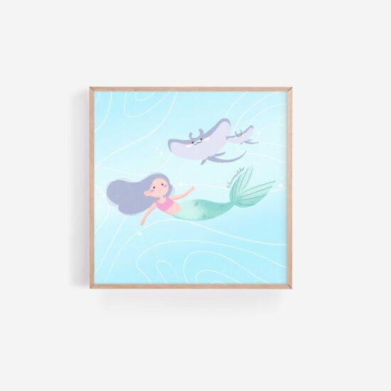 Moonbeam Mermaid and Manta rays